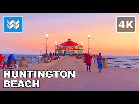 Sunset Walk At Huntington Beach Pier In Orange County, California USA 2020 Travel Guide 🎧【4K】