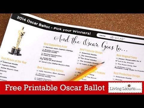 Free Printable 2014 Oscars Ballot ~ Oscar Party Ideas