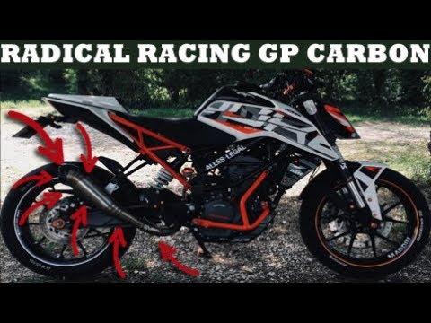 🔥radical-racing🔥gp-carbon🔥sound-check🔥ktm-duke-125-2017/2018🔥komplettanlage🔥mit/ohne/racing-db