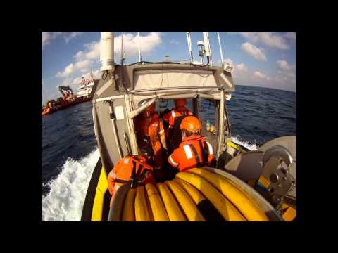 Personnel Transfer From Seismic Boat to Support Boat