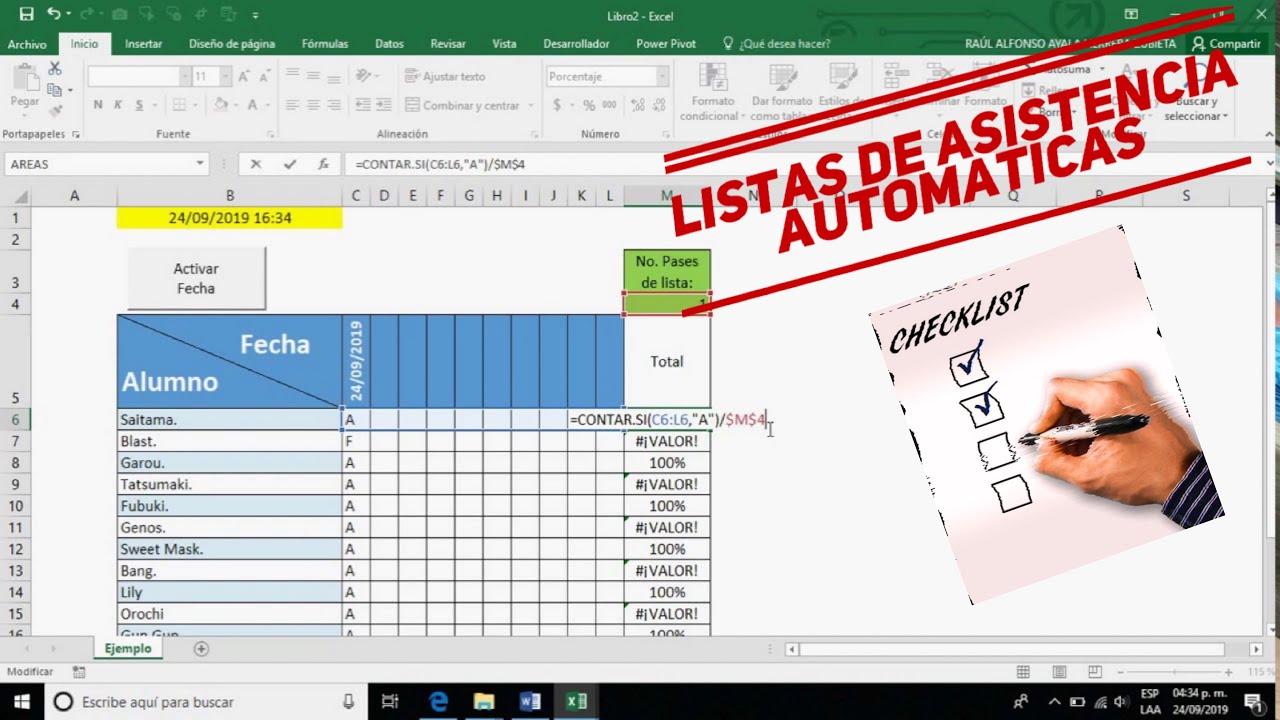 🔸LISTA DE ASISTENCIA con MACROS en Excel