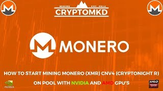How to start mining Monero (XMR) CNv4 Cryptonight R on pool with AMD and NVIDIA GPU's