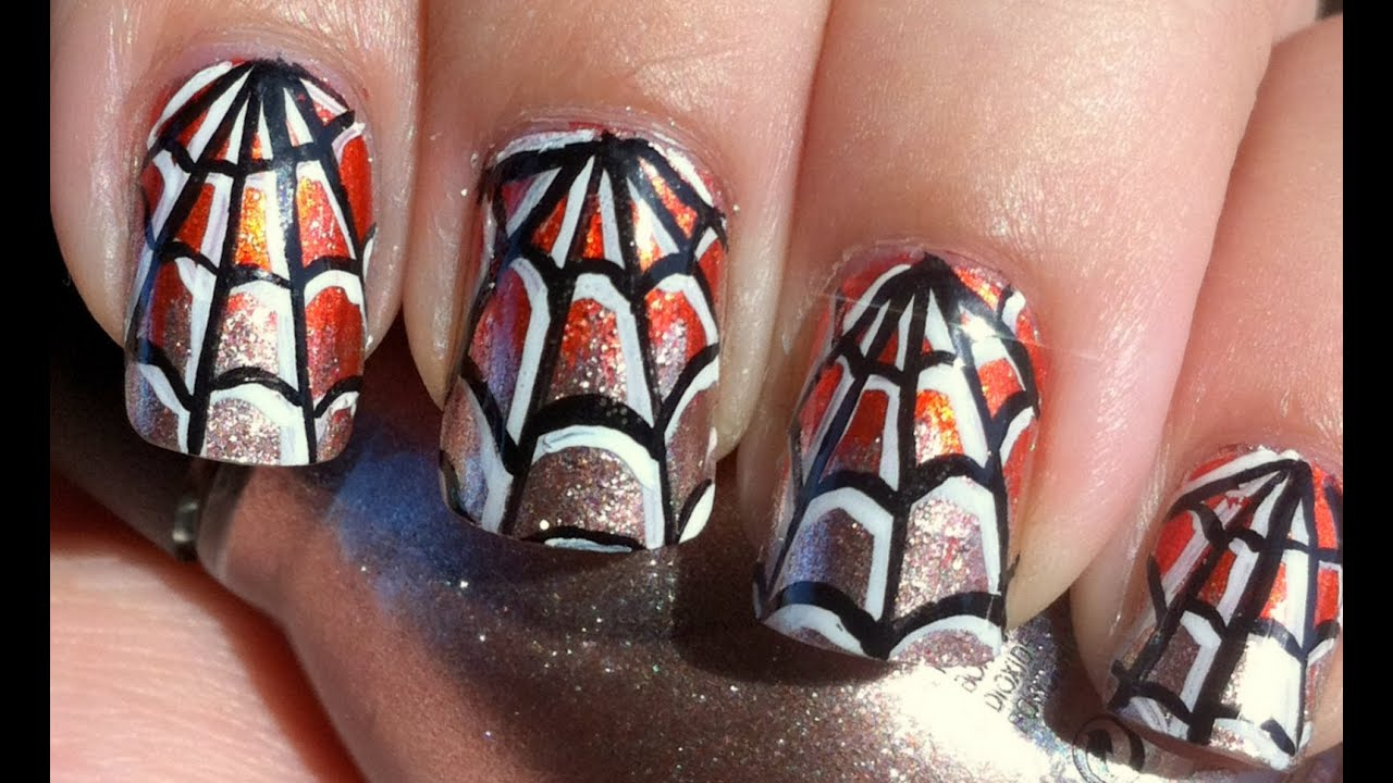 Halloween Spider Web Nail Art - YouTube