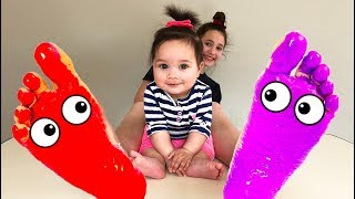 Learn Colors for kids with Feet Painting Compilation