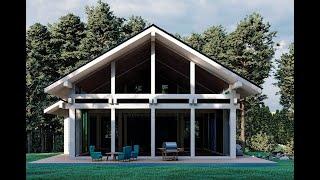 목재와 유리를 절반씩 사용한 하이브리드하우스, 목조조립…