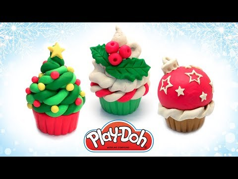 Play Doh Christmas Cupcake. Dough Cake. How to make Toy Food out of Play Doh. Art and Craft for Kids