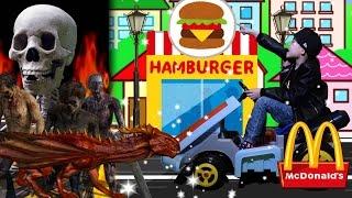 ドライブスルーごっこ マクドナルドでお買い物!おゆうぎ ゾンビ 骸骨 おばけ 恐竜!?ハッピーセットにハンバーガー! thumbnail