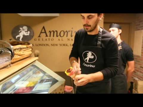 Making an Amorino all nature gelato flower cone at Sawall's