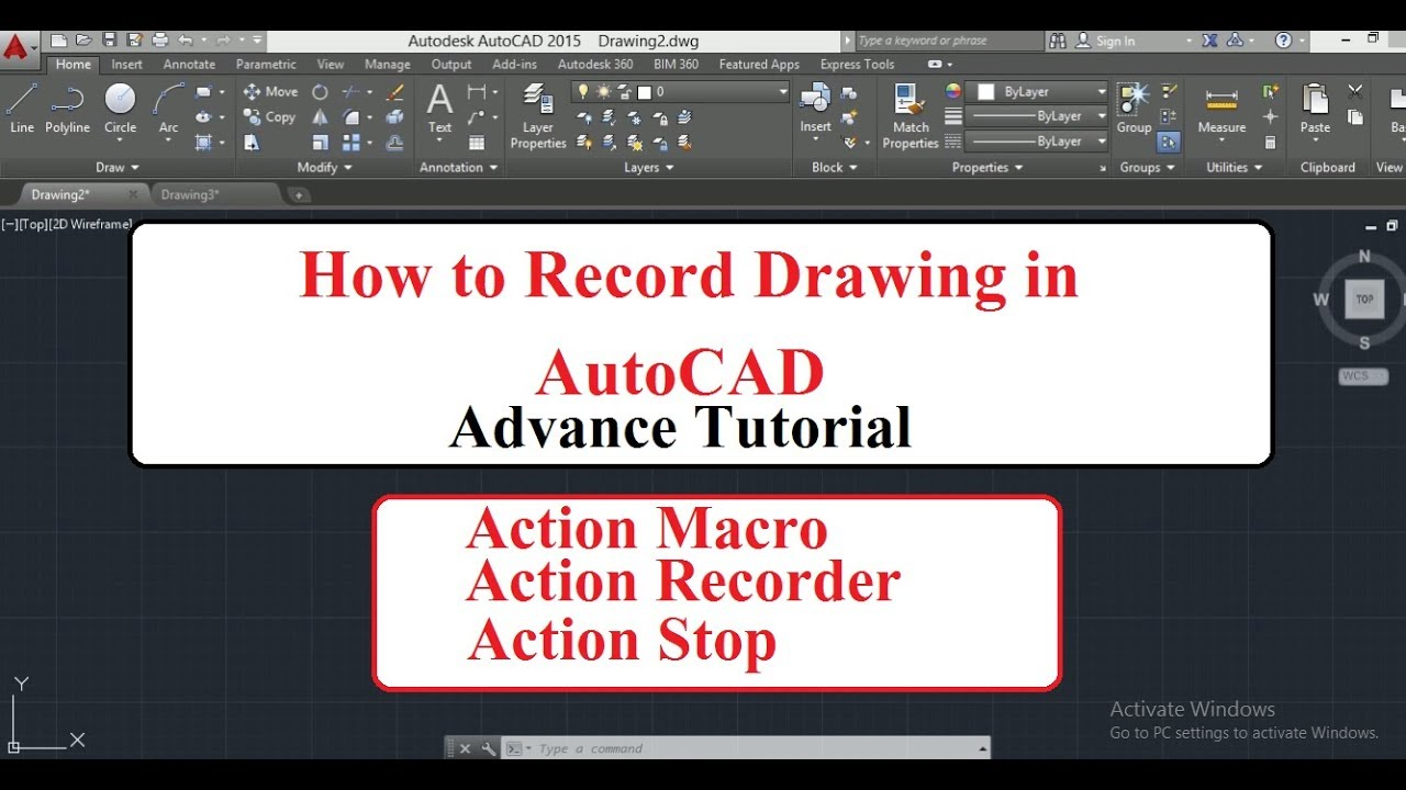 How to Record a drwaing in AutoCAD 30 || Action Macro | Action Recorder |  Action Stop
