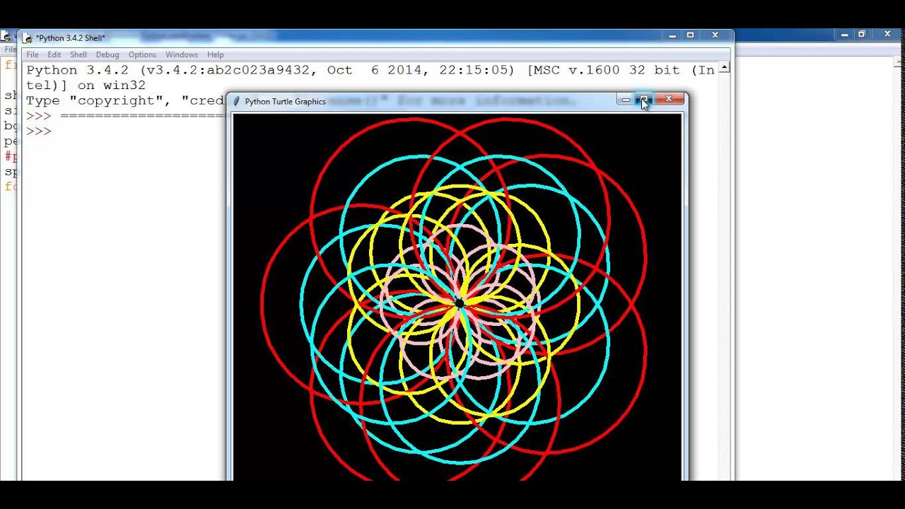 Python Turtle Graphics Tutorial Of Circle Pattern Youtube