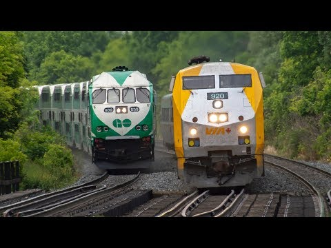 4K - GO and VIA Train Action on the Lakeshore West (Oakville Subdivision)