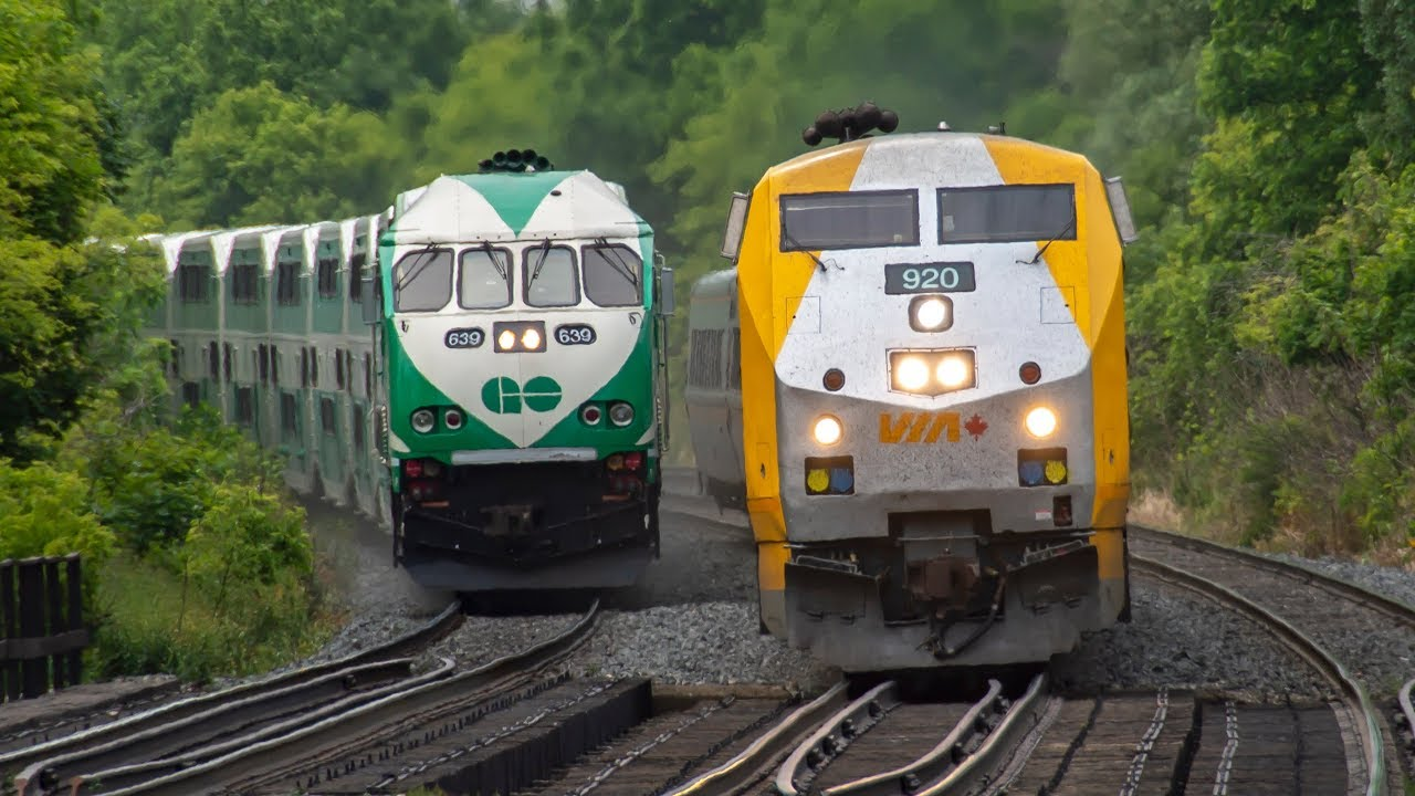 4k Go And Via Train Action On The Lakeshore West