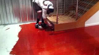 installing red epoxy flooring system