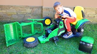 Funny Baby play with Magic Toys Ride on POWER WHEELS Tractor