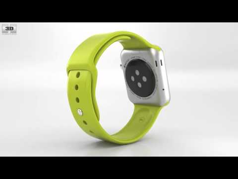 apple-watch-sport-42mm-silver-aluminum-case-green-sport-band-by-3d-model-store-humster3d.com