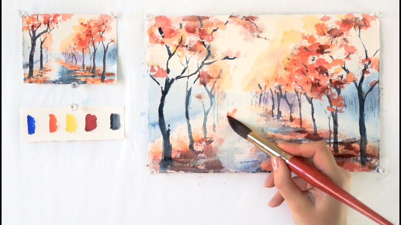 Autumn alley step by step watercolor tutorial part 1 for How to paint a rose in watercolor step by step