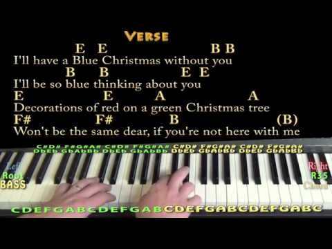 Blue Christmas (Elvis) Piano in E Cover Lesson with Chords/Lyrics