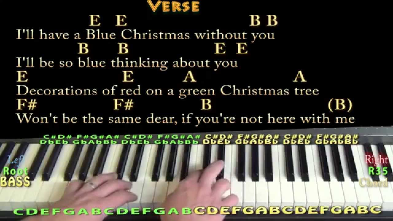 Blue Christmas (Elvis) Piano in E Cover Lesson with Chords/Lyrics ...