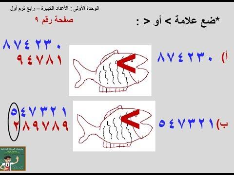 مقارنة الاعداد باستخدام أكبر من أصغر من الدرس1 الجزء8 الوحدة 1 صف رابع ترم أول Youtube