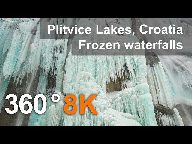 360°, Plitvice Lakes in Winter, Croatia. Teaser. 8K aerial video