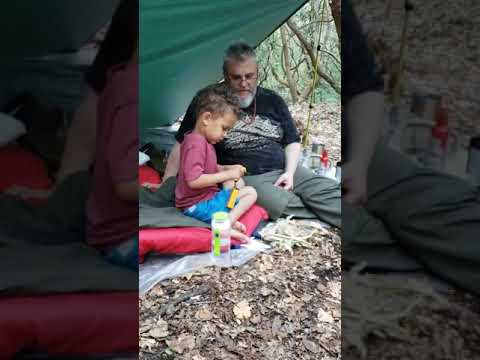 Ferro rod with my grandson. Tinder bundle w jute twine, river birch bark, fat wood& corn leaves