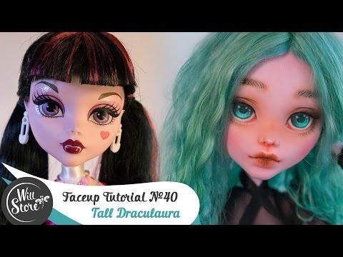 Faceup Tutorial №40 Tall Draculaura 17'' OOAK Monster High Custom doll repaint by WillStore