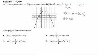 Matura maj 2014 zadanie 7 Na rysunku przedstawiono fragment wykresu funkcji kwadratowej f