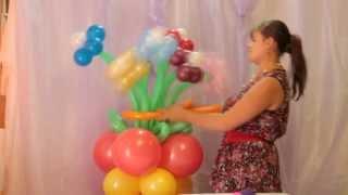 Видео урок: как сделать букет из воздушных шаров
