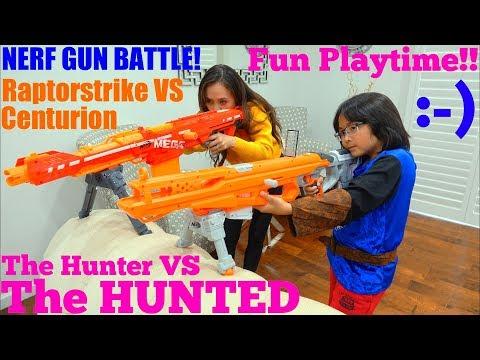 Toy GUNS: NERF War! Raptorstrike Versus Centurion! Nerf Gun Battle. The Hunter and the Hunted