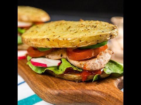 Sandviș cu porc și cartofi copți