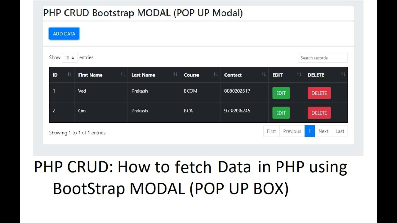 PHP CRUD: Bootstrap Modal: Fetch Data from Database in PHP | Coding