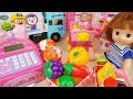 Baby doll Mart register and delivery truck car toys surprise eggs play