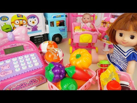 Thumbnail: Baby doll Mart register and delivery truck car toys surprise eggs play