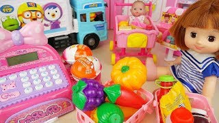 vuclip Baby doll Mart register and delivery truck car toys surprise eggs play