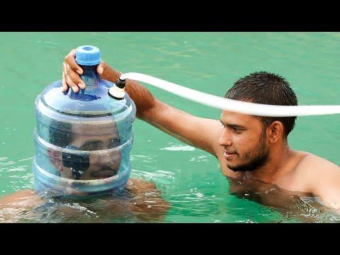 Underwater Helmet Crazy innovation - पानी के अंदर सास लेने का देसी जुगाड़