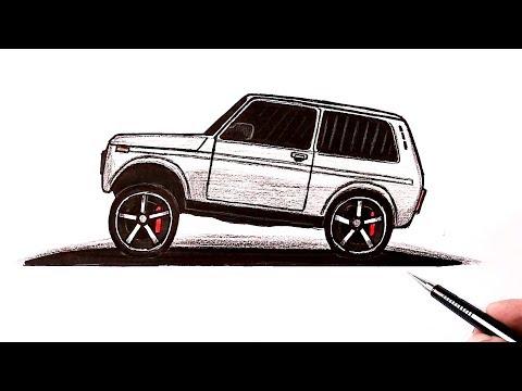 Как нарисовать машину Нива с боку