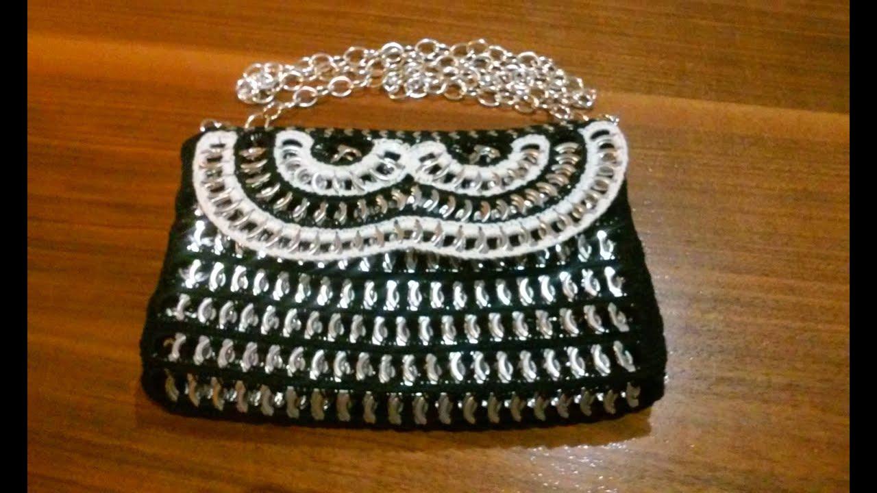 Como hacer un bolso de fiesta con anillas de lata bolso black white 2 youtube - Manualidades con chapas de refrescos ...