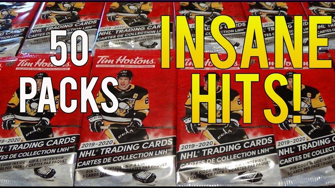 INSANE HITS!  Opening 50 Packs of 19/20 Upper Deck Tim Hortons NHL Hockey Cards