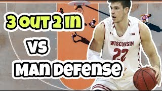 3 Out 2 In Basketball Offense vs Man To Man Defense