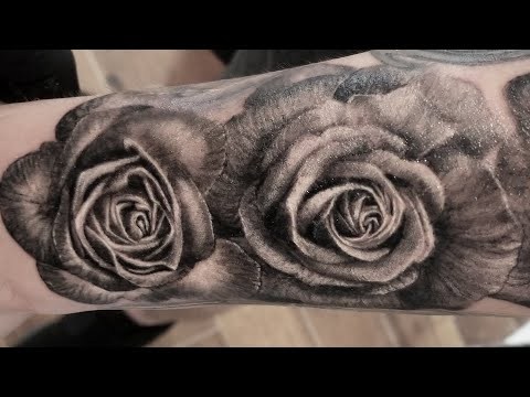 Realistic Roses Tattoo in Progress.. Real time tattooing by Rose smelling farting Ninja CRIS GHERMAN