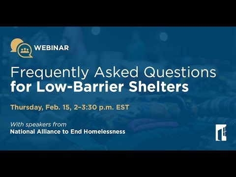 Frequently Asked Questions for Low Barrier Shelters