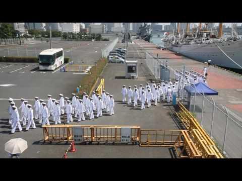 2016/8/26 チリ海軍練習帆船 エスメラルダ (Esmeralda, BE-43) 東京晴海寄港 行進するチリ海軍 The Chilean navy to marching Tokyo