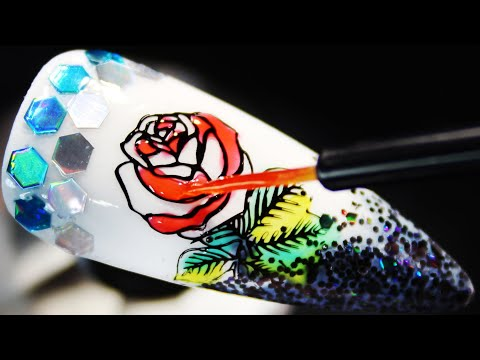 How To Create Glitter Rose Coloring Stamping Nail Art Design (Part 2)