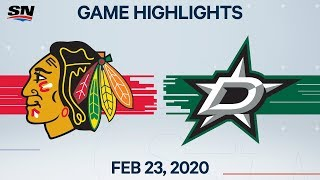 NHL Highlights | Blackhawks vs. Stars - Feb. 23, 2020