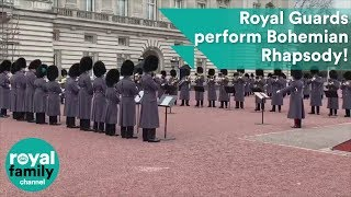 Guards' brilliant performance of Queen's Bohemian Rhapsody outside Buckingham Palace