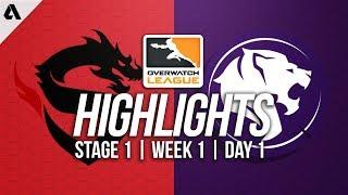 Shanghai Dragons vs LA Gladiators ft Surefour Pharah | Overwatch League Highlights OWL Week 1 Day 1