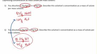 Concentration as a mass solute per mass solvent