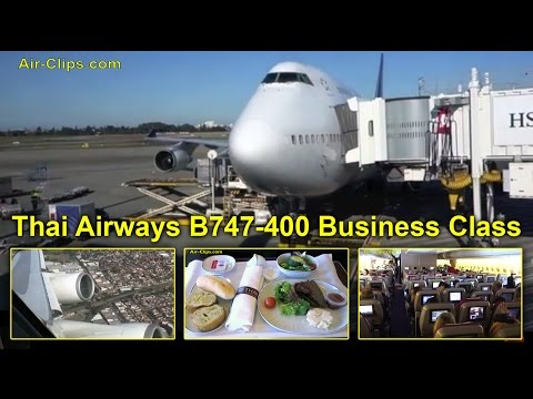 Thai Airways Boeing 747-400 Business Class Sydney to Bangkok  [AirClips full flight series]