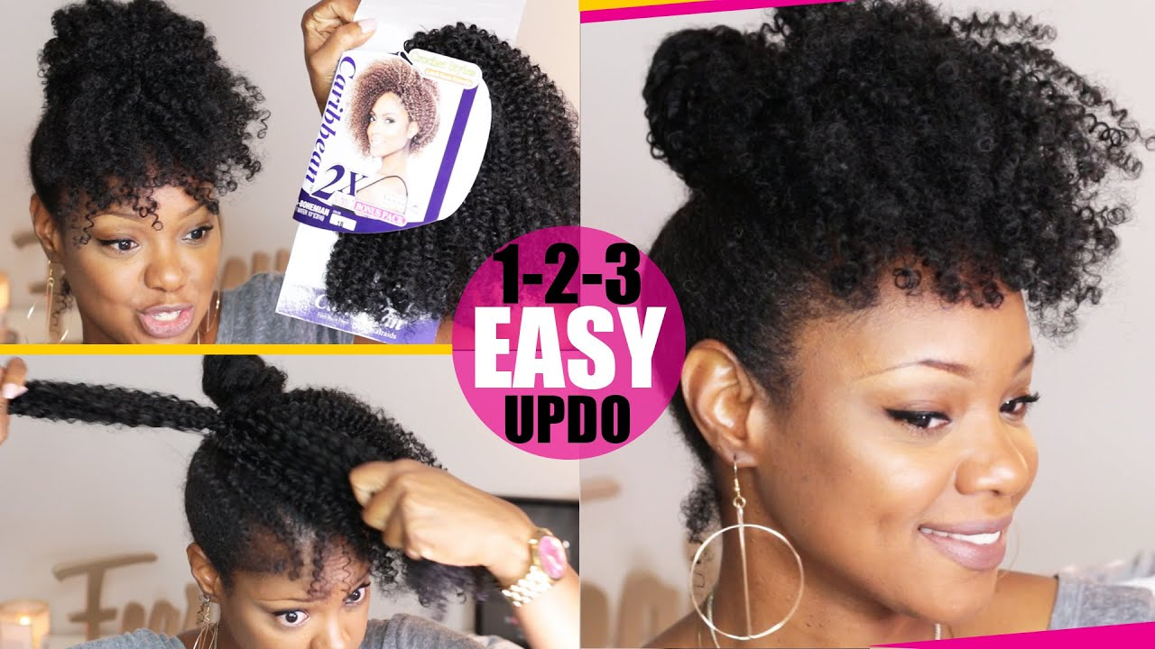Crochet Braid No Braid Curly Updo Natural Hair Tutorial