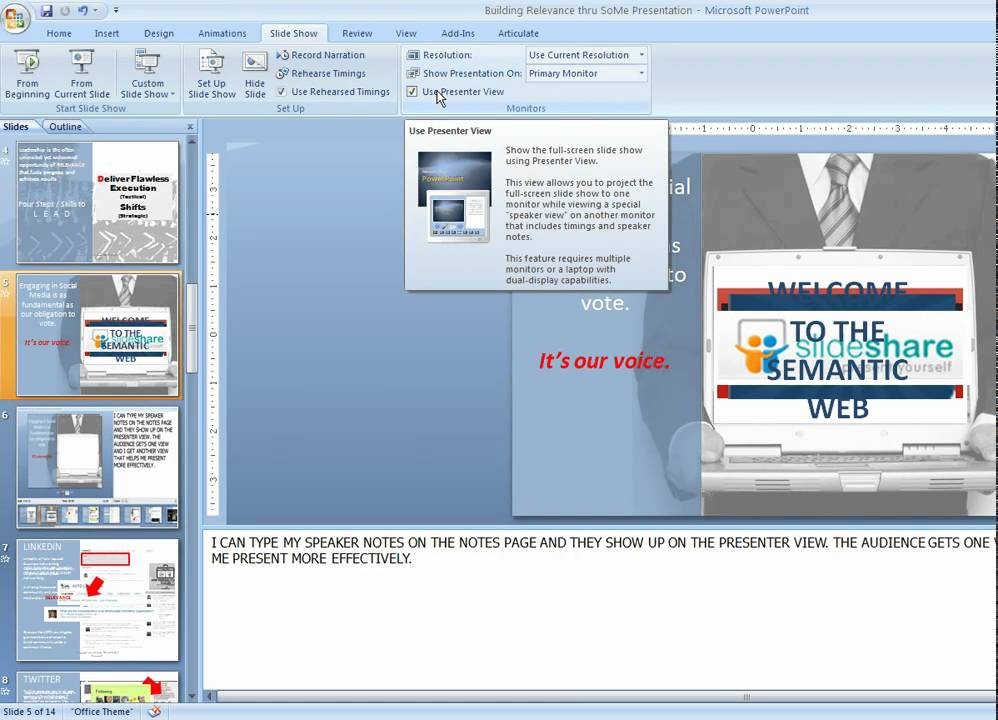 9b7dbd1fb Using Presenter View in Powerpoint - YouTube